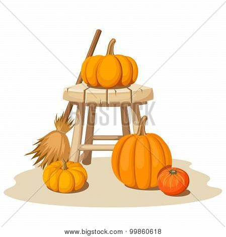 Still life with pumpkins and a wooden stool. Vector illustration.