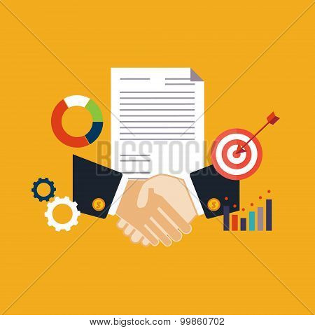 Deal, shaking hands vector illustration