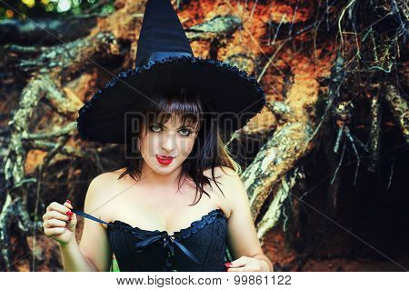 witch sexy woman licking lips