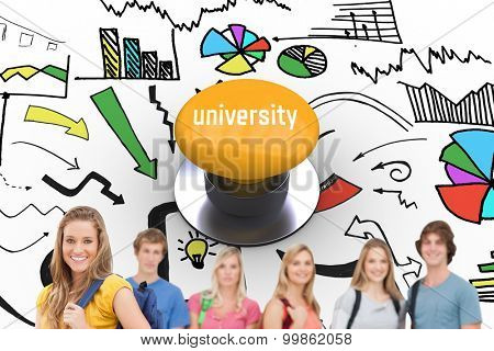 The word university and a woman standing in front of his friends as she smiles against yellow push button