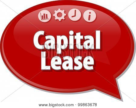 Speech bubble dialog illustration of business term saying Capital Lease