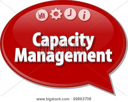 Speech bubble dialog illustration of business term saying Capacity Management