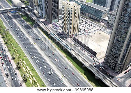 Aerial view of transport on Sheikh Zayed Road, Dubai, UAE