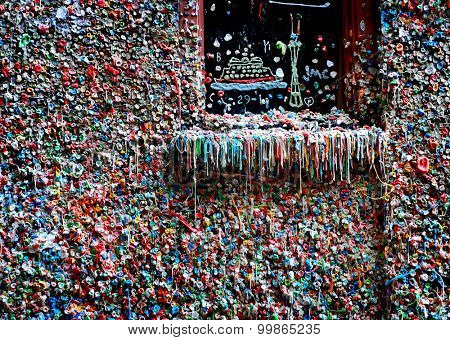 Seattle gum wall with colorful bubblegum stuck together
