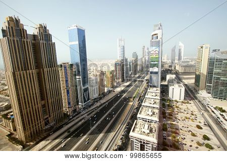 View of Sheikh Zayed Road skyscrapers in Dubai, UAE