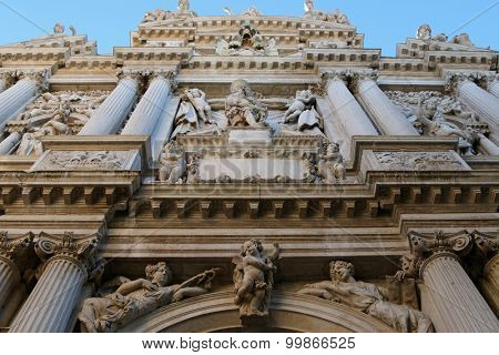 VENICE, ITALY - SEPTEMBER 2014 : Details of Angels at Santa Maria del Giglio church (Santa Maria Zobenigo) in Venice, Italy on September 14, 2014.