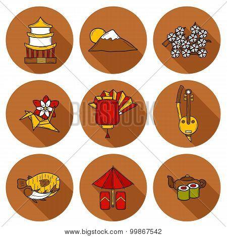 Set of icons in hand drawn cartoon style on Japan theme: geisha, sword, sushi, sakura, lantern, orig