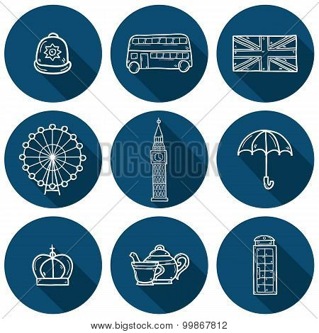 Set of cute hand drawn outline cartoon objects on London theme: queen crown, red bus, big ben, umbre