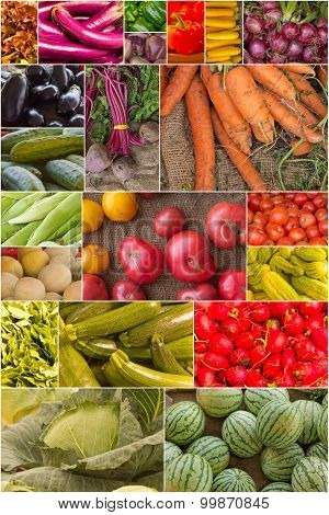 Variety of popular farmers market fruits and vegetables in produce collage imagery