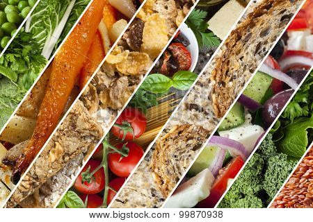 Collage of healthy foods.  Vegetables, grains, salads.
