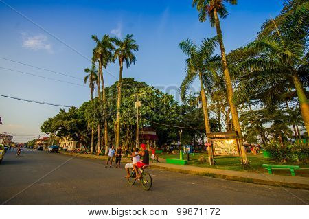 Panama, Panama - April 16, 2015:  Street View Of Isla Colon Which Is The Most Populated Island In Th