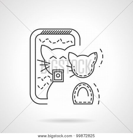 Cat selfie vector icon thin line style