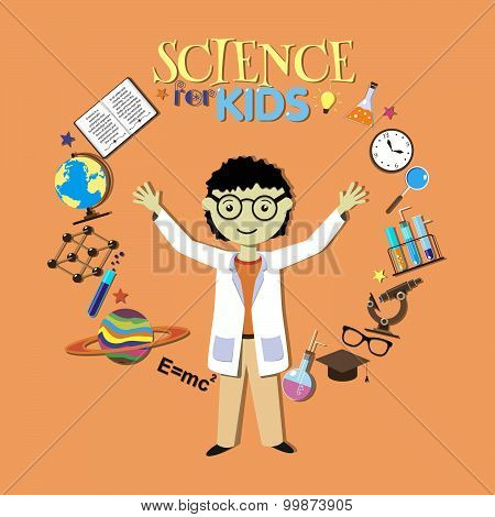 Science for kids. Cartoon scientist, collection of science symbols and design elements. Vector Illus