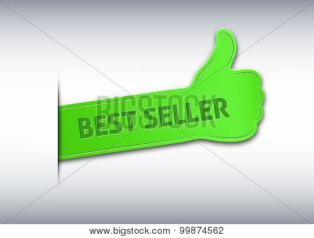 Thumb Up Bookmark Or Banner With The Inscription Best Seller