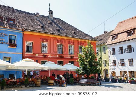 Sighisoara, Romania - July 08: Unidentified Tourists Walking In Historic Town Sighisoara On July 08,