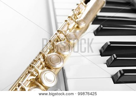 Flute and piano close up