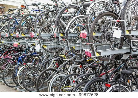 Rows Of Commuter Bikes At A Train Station