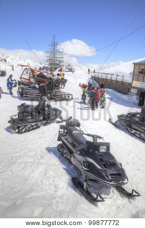 Snowmobiles On The Slope Of Mountain Elbrus