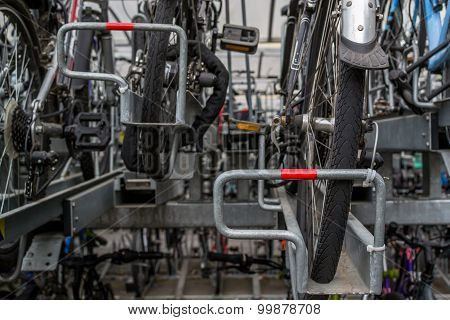 Lines Of Commuter Bikes At A Train Station