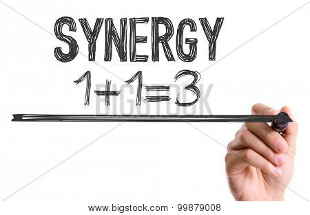 Hand with marker writing the word Synergy 1+1=3