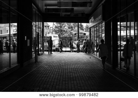 Shoppers Waiting For Their Buses