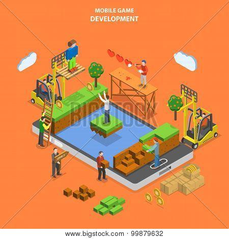 Mobile game development flat isometric vector.