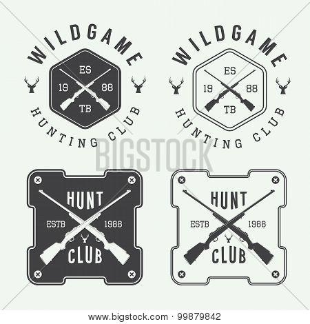 Set Of Vintage Hunting Labels, Logo, Badge And Design Elements.