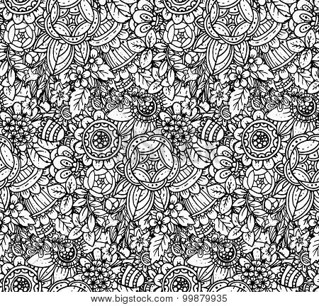 Seamless Monochrome Vector Floral Pattern.
