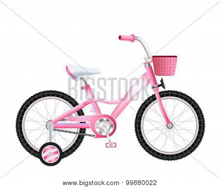 Realistic Children Bicycle With Basket On White