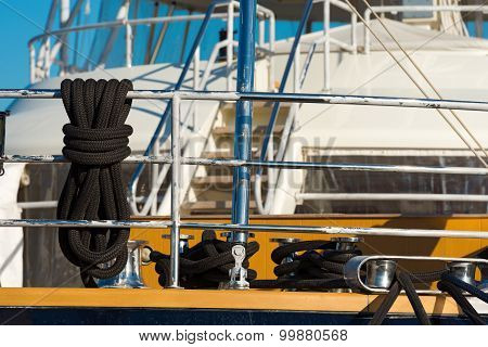 Black Ropes On Yacht For Mooring