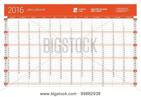 Red Calendar Planner 2016 Year. Vector Design Print Template. Week Starts Sunday