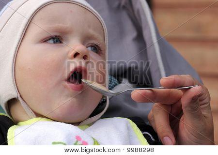 Baby Eats Milk Porridge
