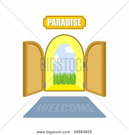Gates Of Paradise On A White Background. Entrance To Paradise. Access To God. Open Doors To  Garden