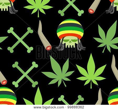 Jamaica Drugs Seamless Pattern. Rasta Skull And Leaf Cannabis. Spliff And Bones. Smoking Pushing Dru