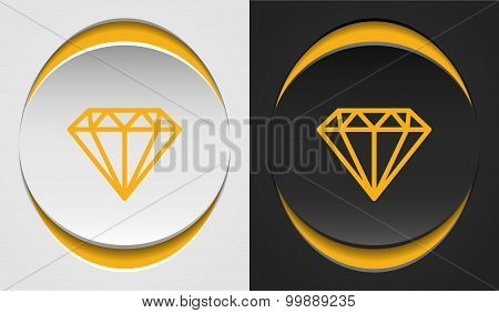 Flat style diamonds, abstract golden diamond icons on papercut circles, black and white