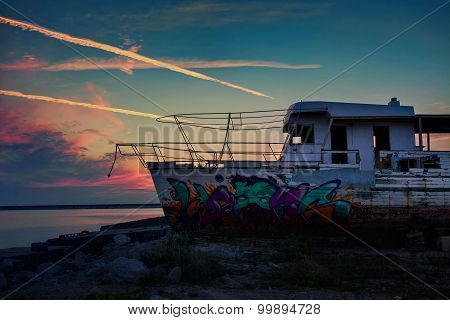 Old and rusty desolate fishing ship