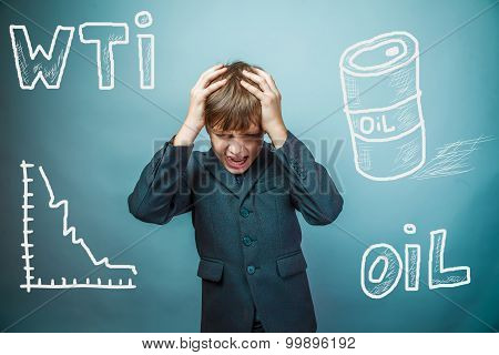 drop in the price of oil barrel WTI businessman teenager holding