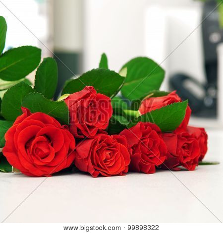 Red Bouquet Of Roses