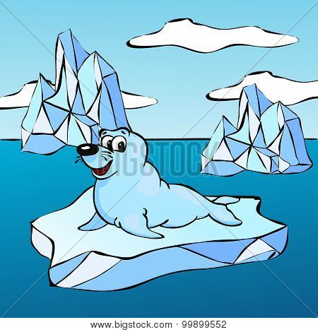 Fur Seal On The Iceberg
