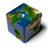 Cubic Earth With Translucent Ocean poster