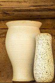foto of pottery  - Vintage Pottery with texture background of ancient pottery shard - JPG