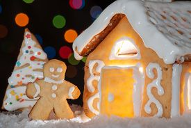 picture of gingerbread man  - Gingerbread house with gingerbread man and christmas trees - JPG