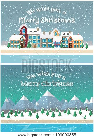Christmas holiday season. Small town in snowfall. Vector illustration flat style design. Cards and b