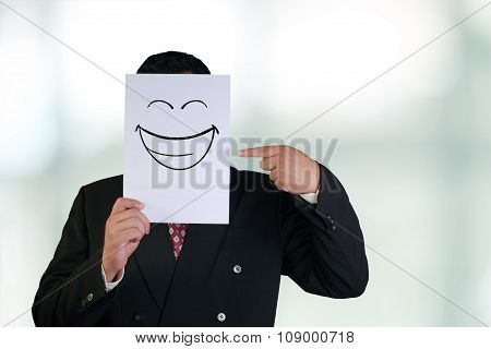 Businessman Wearing Happy Laughing Face Mask