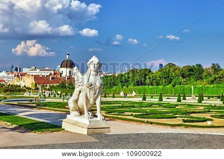 Area Of The Park-garden Complex Belvedere.foreground Focus.vienna. Austria.