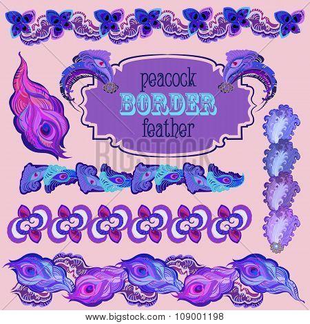Violet peacock feathers border elements set.
