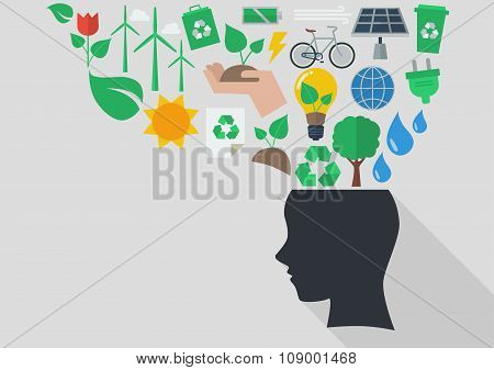 Human Head With Ecology Icons