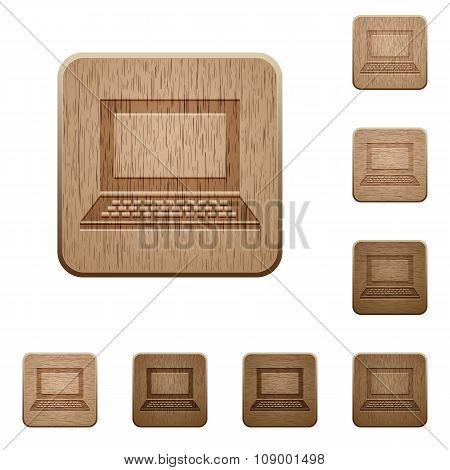 Laptop Wooden Buttons