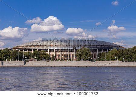 The Luzhniki Stadium On The Bank Of The River