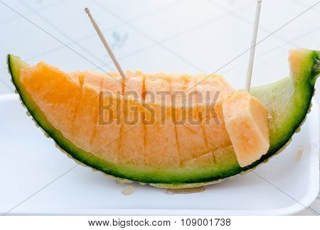 Sweet Cantaloupe Melon Slices Ready For Eat